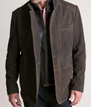 Gordon Mens VINTAGE BROWN Goatskin Suede Leather Blazer Jacket