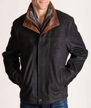 Mens Goatskin Leather Jacket with Removable Shearling Collar