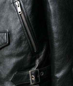 Hackett Mens Slimfit Zip Up Black Motorcycle Leather Jacket