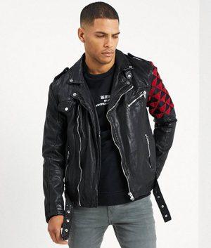 Harold Mens Lapel Collar Motorcycle Leather Jacket
