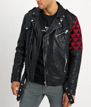 Harold Mens Lapel Collar Black Motorcycle Jacket