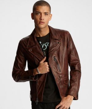 Henderson Mens Snap Down Collar Brown Leather Jacket
