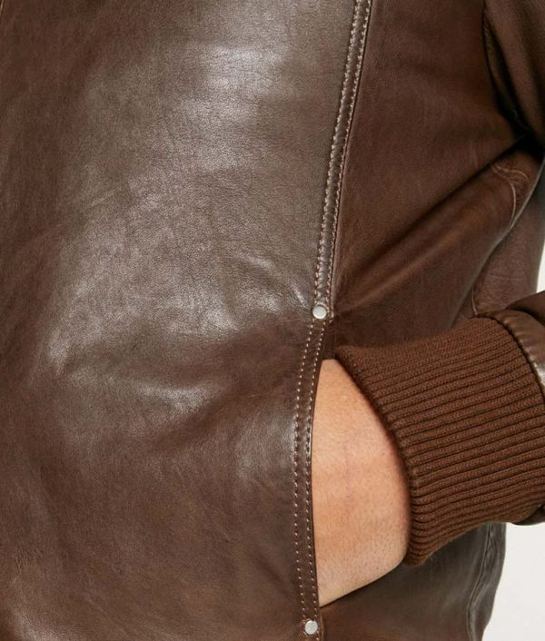 Mens High Collar Casual Brown Leather Jacket