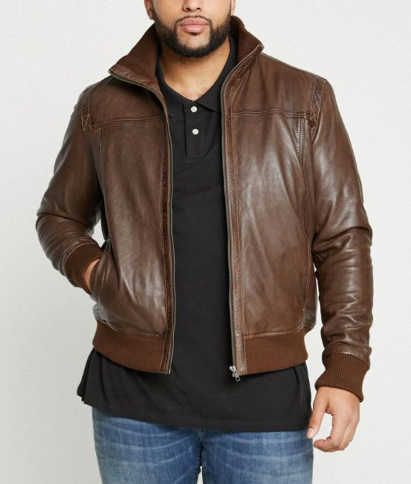 Hobson Mens Casual Brown Leather Jacket