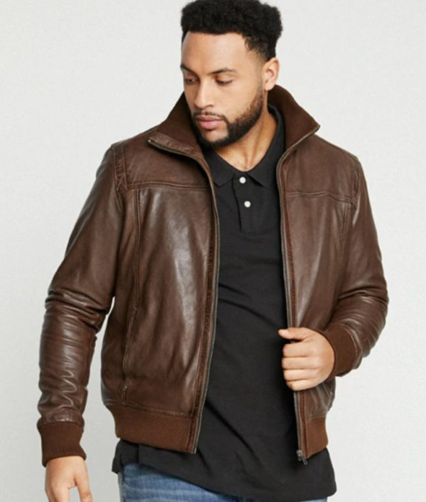 Hobson Mens High Collar Casual Brown Leather Jacket