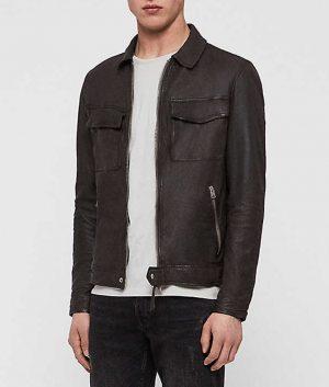 Holub Mens Charcoal Grey Slimfit Casual Leather Jacket