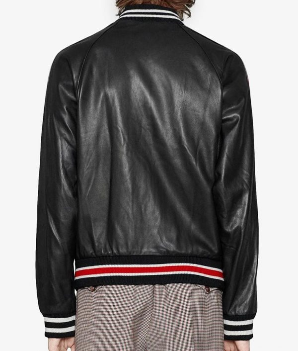 Hutto Mens Casual Varsity Style Red And Black Bomber Leather Jacket