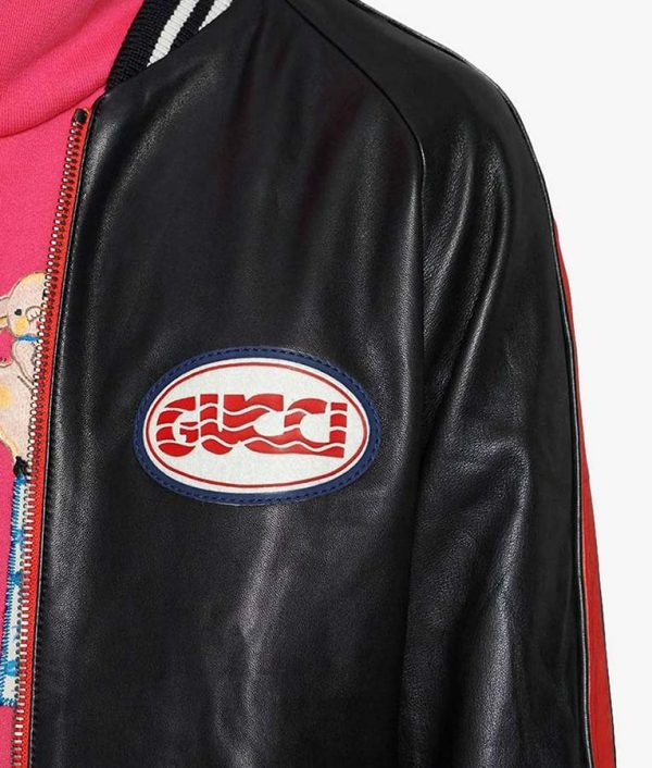 Hutto Mens Casual Style Red And Black Bomber Leather Jacket