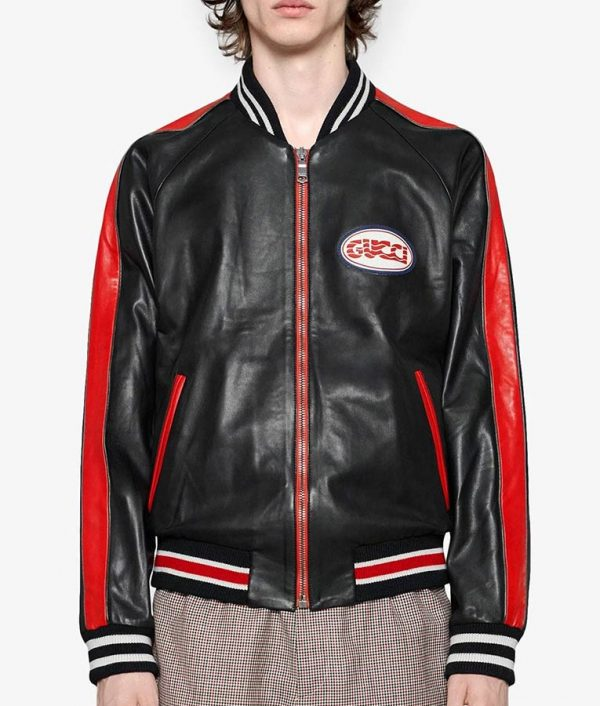 Hutto Mens Casual Varsity Style Bomber Leather Jacket