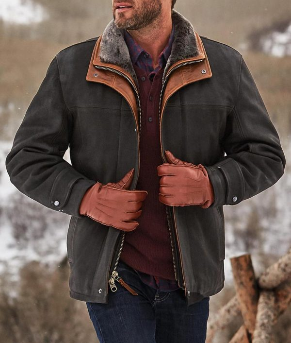 ack Mens Black Frost Leather Coat with Shearling Lining