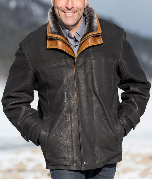 Mens Black Frost Leather Coat with Shearling Lining
