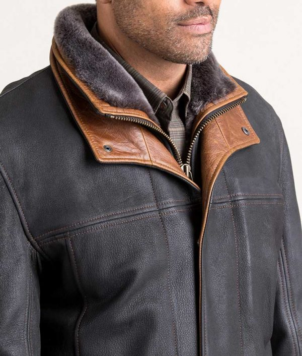 Jack Mens Black Frost Coat with Shearling Lining