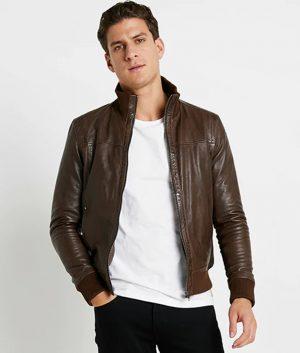 Jefferson Mens Standing Collar Slimfit Brown Leather Jacket