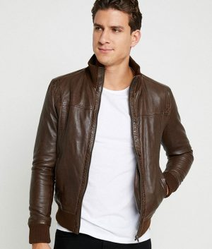 Jefferson Mens Standing Collar Brown Bomber Leather Jacket
