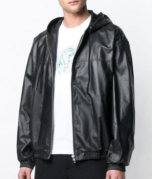 Mens Hooded Collar Slimfit Black Bomber Leather Jacket