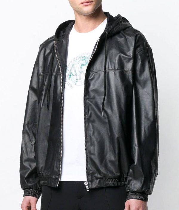 Mens Hooded Collar Slimfit Black Bomber Leather Jacket