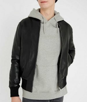 Jeremy Mens Casual Black Bomber Leather Jacket