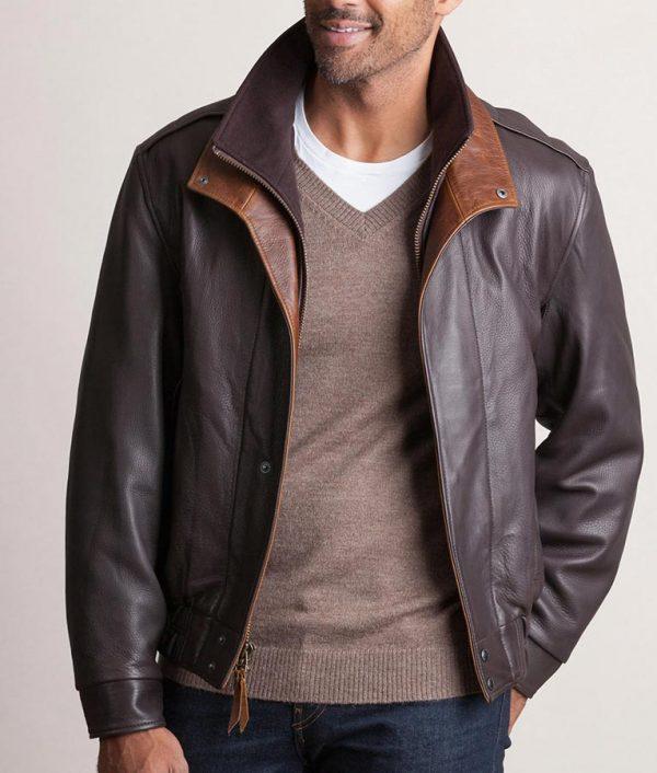 Jesse Mens Casual Dark Brown Leather Bomber Jacket