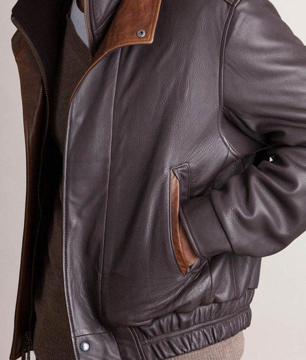 Jesse Mens Casual Dark Brown Lambskin Leather Bomber Jacket
