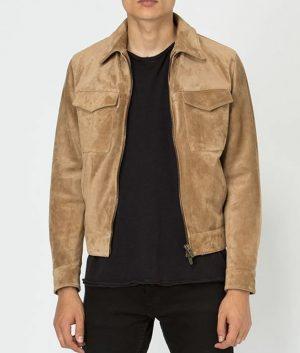 John Mens Slimfit Casual Style Camel Color Leather Jacket