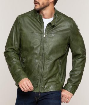 Mens Casual Cafe Racer Green Lambskin Leather Moto Jacket