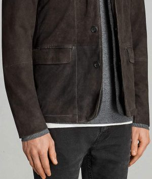 Jose Mens Casual Style Distressed Brown Leather Jacket