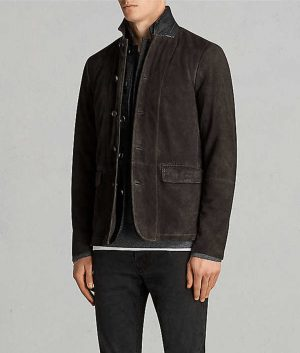 Mens Casual Style Distressed Brown Leather Jacket