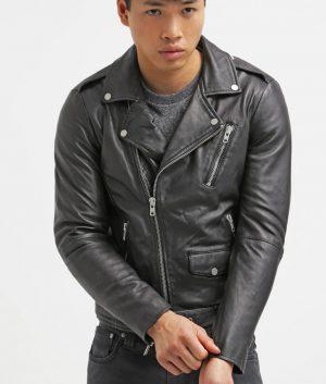 Kenneth Mens Lapel Collar Black Leather Jacket