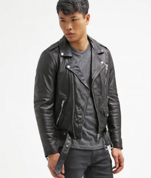 Kenneth Mens Lapel Collar Black MotorCycle Leather Jacket