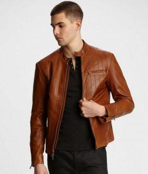 Kenneth Mens Lined Brown Cafe Racer Leather Jacket