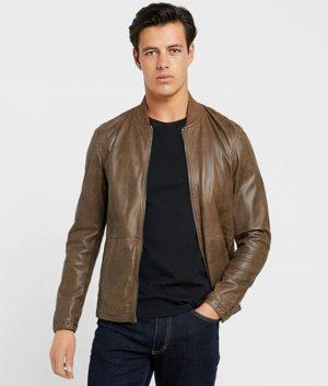 Kenneth Mens Olive Slimfit Cafe Racer Leather Jacket