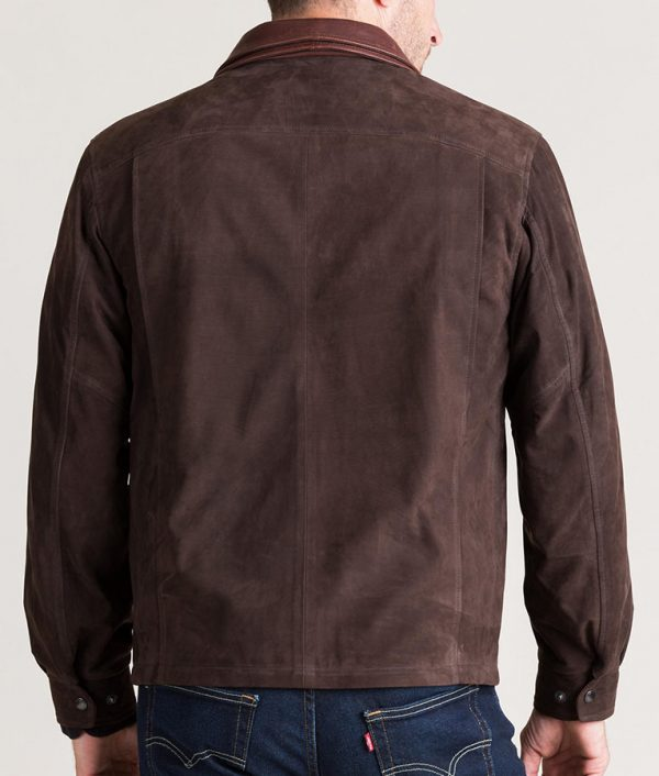 Mens Turn Down Collar Italian Brown Calfskin Leather Jacket