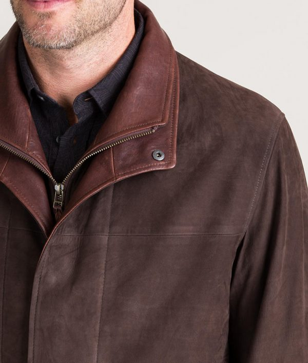 Kenneth Mens Turn Down Collar Italian Brown Calfskin Leather Jacket
