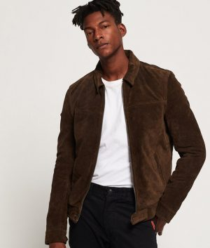 Larry Mens Casual Style Seude Leather Jacket