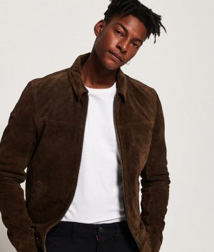 Larry Mens Casual Style Brown Seude Jacket
