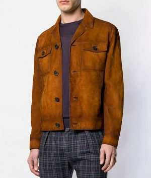 Mens Slimfit Casual Suede Leather Jacket