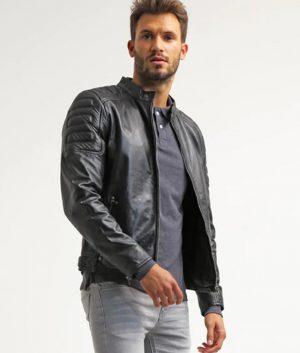 Lawson Black Cafe Racer Leather Jacket