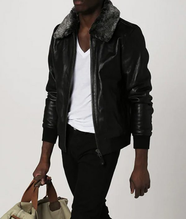 Locklear Mens Shearling Collar Casual Black Leather Jacket