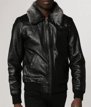 Locklear Mens Shearling Collar Leather Jacket