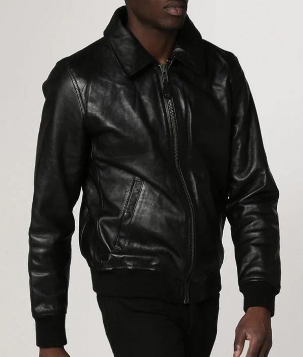 Locklear Mens Collar Casual Black Bomber Leather Jacket