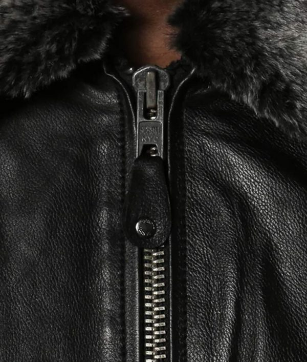 Locklear Mens Shearling Collar Casual Leather Jacket