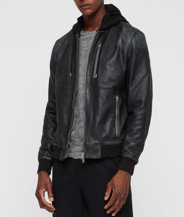 Lonnie Mens Black Bomber Cafe Racer Leather Jacket