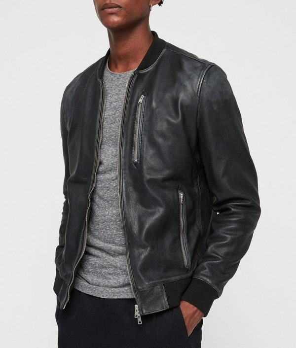 Lonnie Mens Hooded Collar Bomber Cafe Racer Leather Jacket