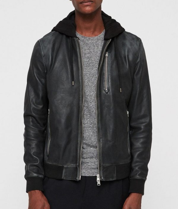 Lonnie Mens Hooded Collar Cafe Racer Leather Jacket