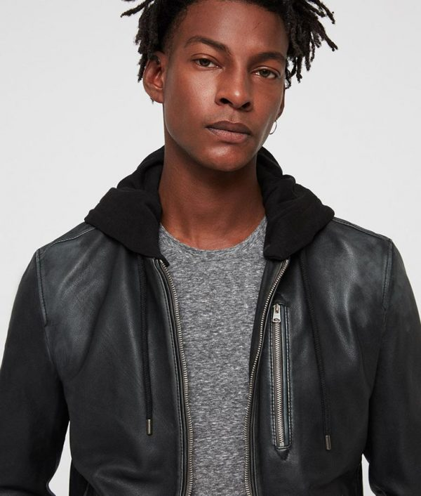 Lonnie Mens Hooded Collar Black Bomber Cafe Racer Leather Jacket