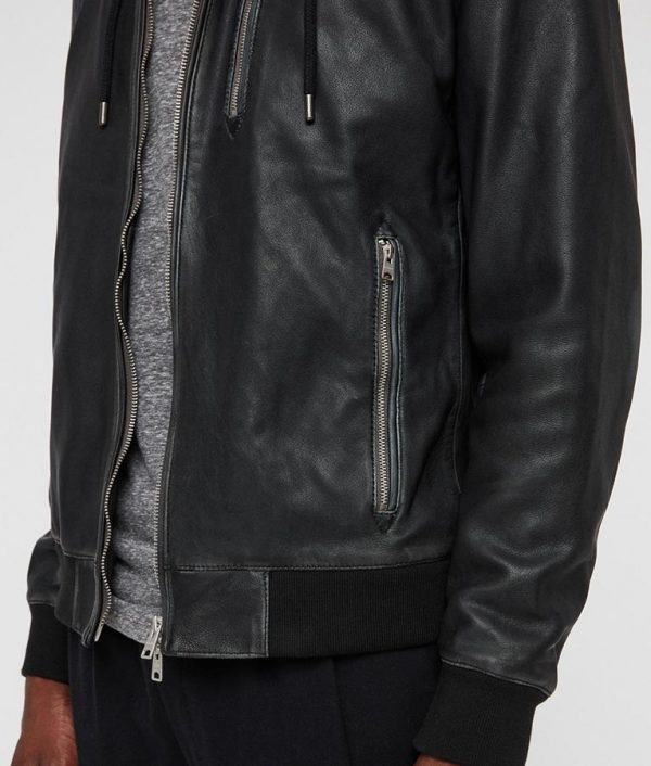Lonnie Mens Hooded Collar Black Bomber Leather Jacket