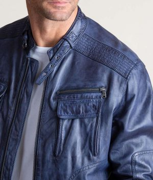 Malcom Washed Italian Lambskin Navy Blue Jacket