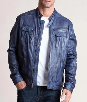 Malcom Washed Italian Lambskin Leather Moto Jacket