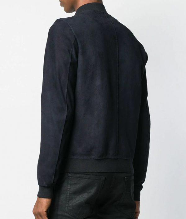 Marcus Mens Navy Blue Slimfit Mandiran Collar Leather Jacket