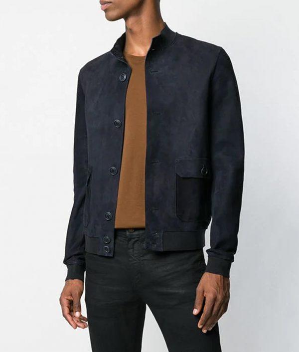 Marcus Mens Slimfit Mandiran Collar Leather Jacket